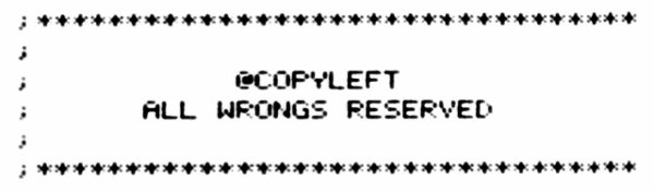 CopyLeft: All Wrongs Reserved, Notice on a Piece of Software